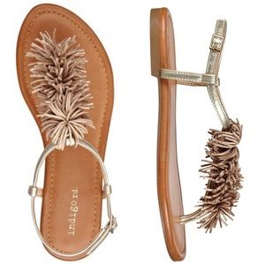 Indigo Rd. Ankle Strap Slingback Pompom Sandals